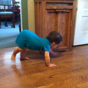 "He started what we called his ""Spider Walk"" at 17 months."
