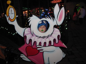 Baby Finn as the White Rabbit.