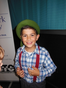 "My little extrovert playing the role of ""Hansel"" in his theatre company's summer play."